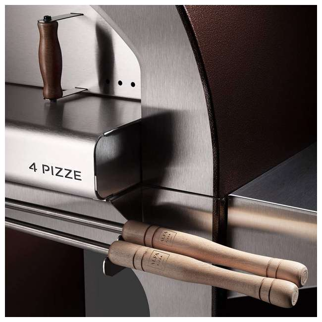 FX4PIZ-LRAM Alfa FX4PIZ-LRAM 4 Pizze Outdoor Stainless Steel Wood Fired Pizza Oven, Red  1