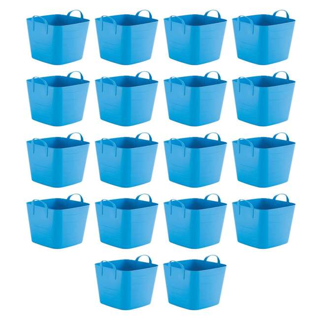 18 x Tub 25L Life Story 25 Liter 6.6 Gallon Durable Plastic Storage Tote, Blue (18 Pack)
