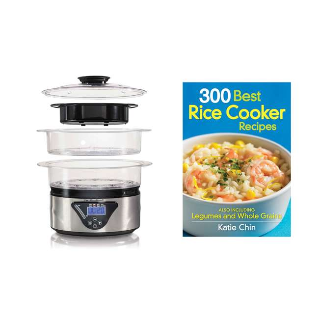 37530Z + RICECOOK300 Hamilton Beach 5.5 Quart 2-Tier Countertop Steamer & Rice Cooker Recipe Cookbook