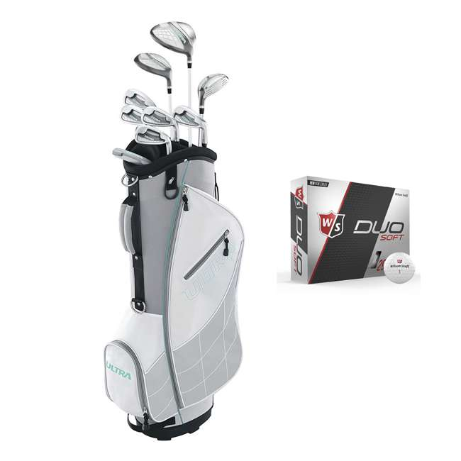 WGGC43300 + WGWP40000 Wilson Ultra Ladies Right-Handed Golf Club Set with Cart Bag & Balls