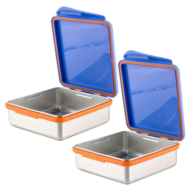 894148002794 Kid Basix Safe Snacker 23 Ounce Stainless Steel Kids Lunch Box, Blue (2 Pack)