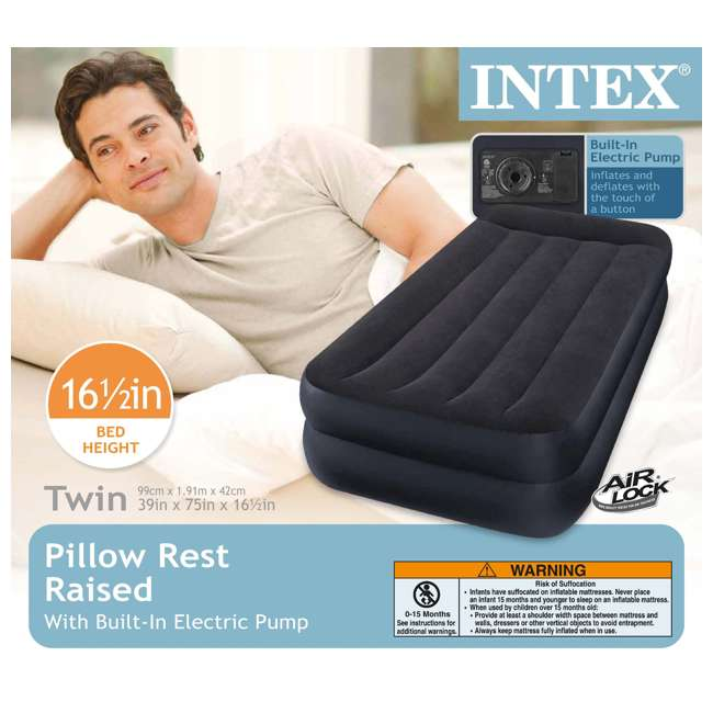 66705E Intex Pillow Rest Twin-Size Air Mattress w/ Built-In Pump & Pillow  5
