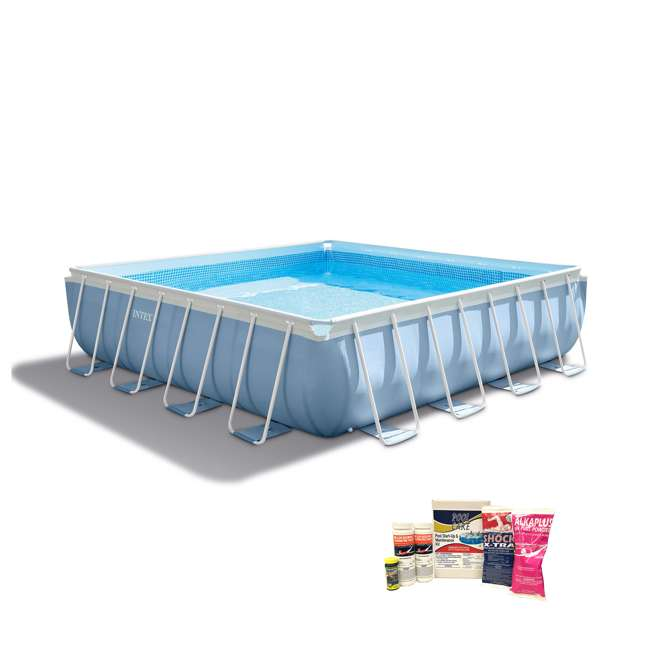 """26765EH + QLC-42003 Intex 16' x 48"""" Prism Frame Above Ground Pool w/ Pump & Cleaning Kit"""
