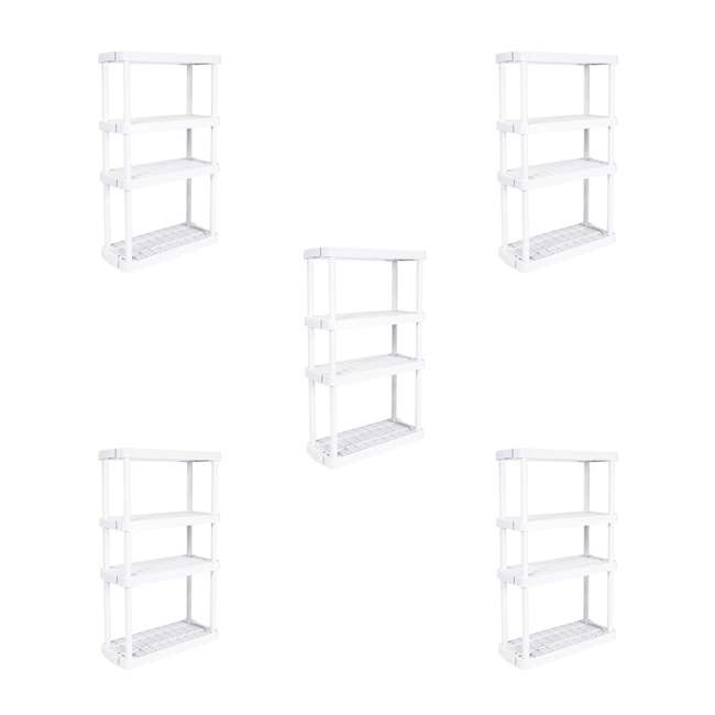5 x GL91072MAXIT-1C Gracious Living 4 Shelf Tier Light Duty Indoor Storage Shelf, White (5 Pack)
