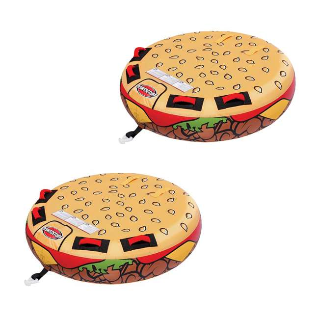 53-3050 Sportsstuff Inflatable 2 Rider Cheeseburger Towable Tube (2 Pack)