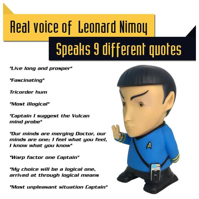 FT-SPK-U-B Fametek Star Trek Mr. Spock 6-Inch Wireless Bluetooth Speaker w/ 9 Quotes (Used) 6