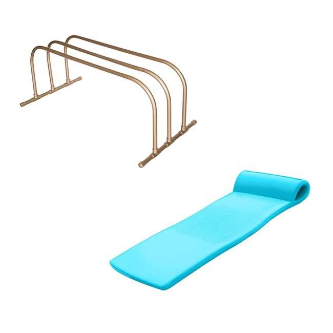 8080218 + 8020031 TRC Recreation PVC Pool Storage Drying Rack w/ 70 Inch Foam Raft Lounger Teal