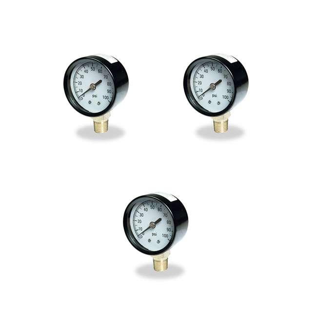 3 x TC2104-P2 Flotec Brands2O TC2104 P2 Well Water Pump Pressure Gauge (3 Pack)
