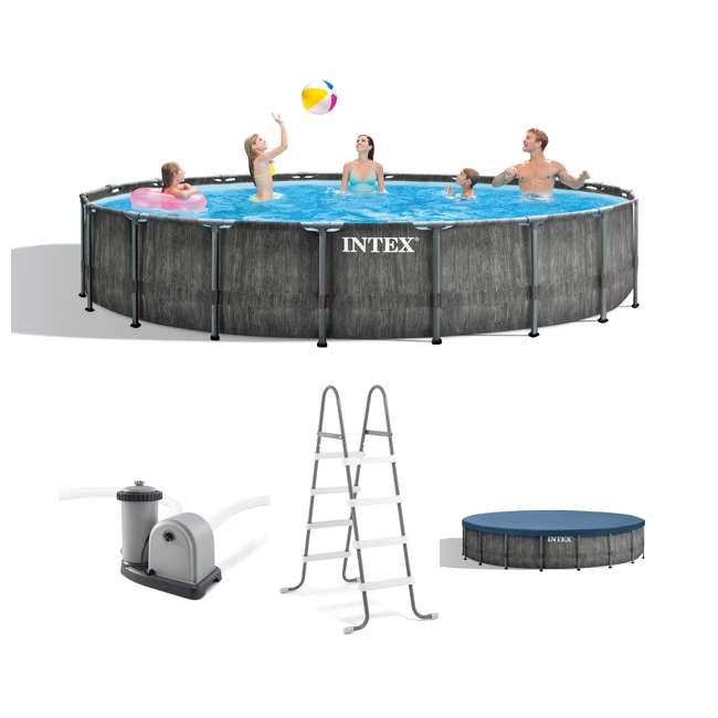 26743EH Intex 18ft x 48in Greywood Prism Steel Frame Pool Set with Cover, Ladder, & Pump