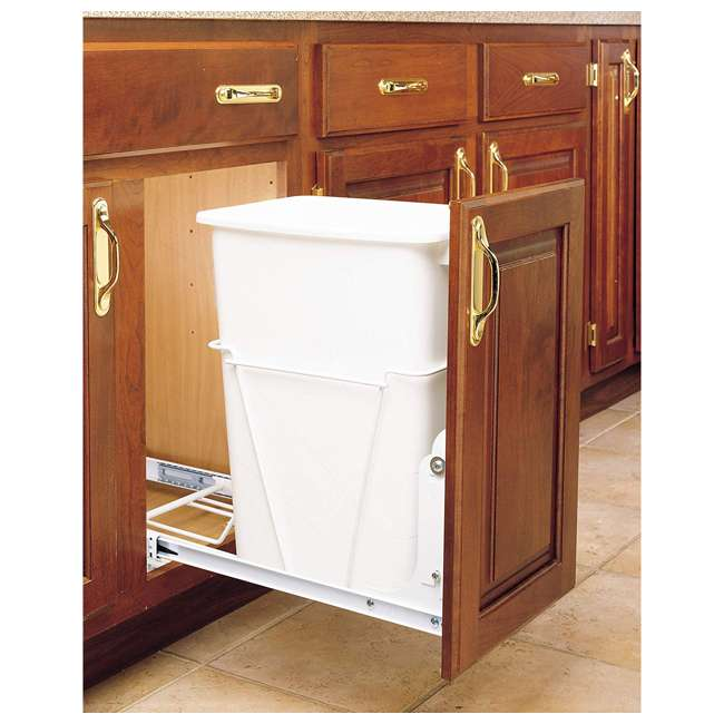 RV-12PB Rev-A-Shelf RV-12PB S 35 Quart Pull Out Waste Container with Basket, White 1