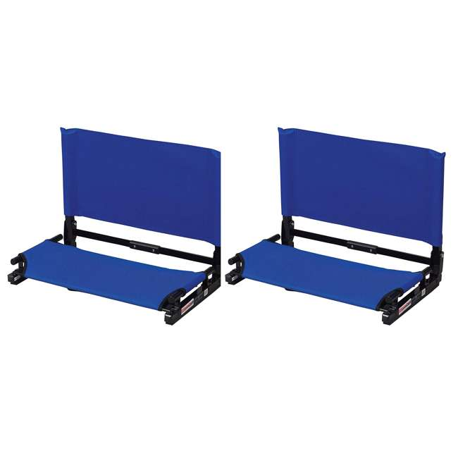 WSC2-ROYAL Stadium Chair Deluxe Game Changer Folding Bleacher Seat, Royal Blue (2 Pack)