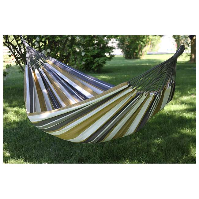 BRAZ125 Vivere Brazilian Style Cotton One Person Outdoor Backyard Hammock, Desert Moon 3