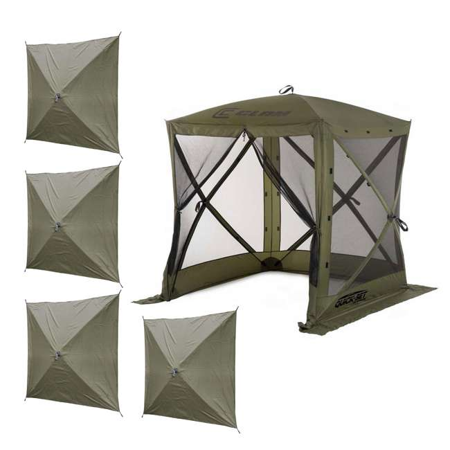 CLAM-TV-9870 + 2 x CLAM-WP-2PK-9896 Clam Quick-Set Traveler Shelter w/Wind Panels (4 Pack), Green