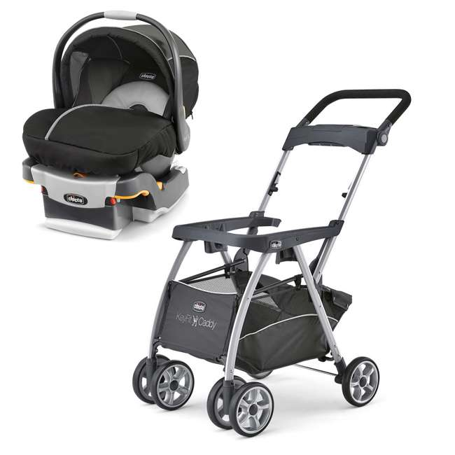 CHI-0607906295 + CHI-0607905222 Chicco KeyFit 30 Infant Stroller Caddy, Rear Facing Car Seat, and Base Travel System