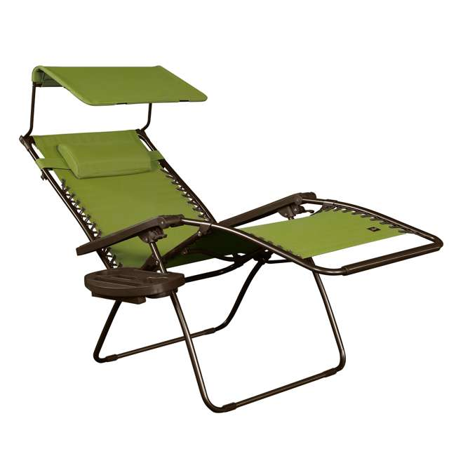 GFC-450WSG Bliss Hammocks GFC-450WSG 30 Inch Zero Gravity Chair with Canopy and Tray, Green 1