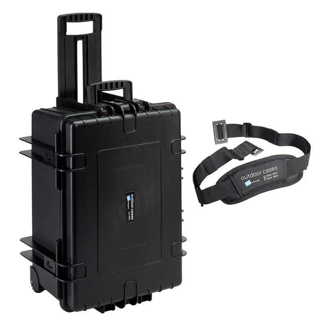 6800/B/RPD + CS/3000 B&W 70.9L Plastic Waterproof Case w/ Wheels, RPD Insert & Shoulder Strap, Black