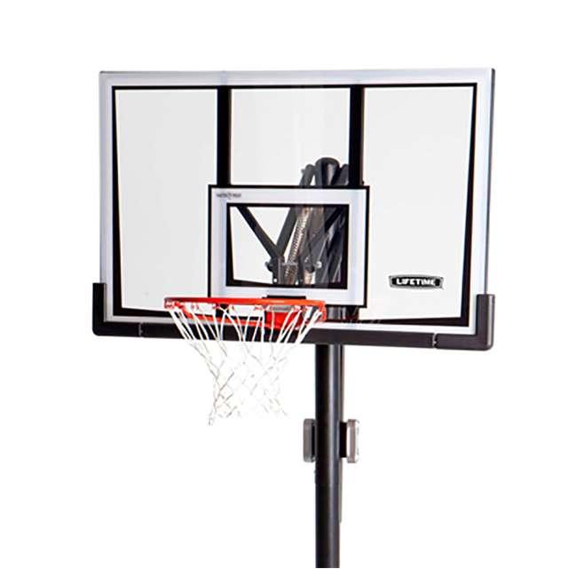 90601 Lifetime Adjustable All Weather Shatterproof Basketball Sports Hoop (Used) 4