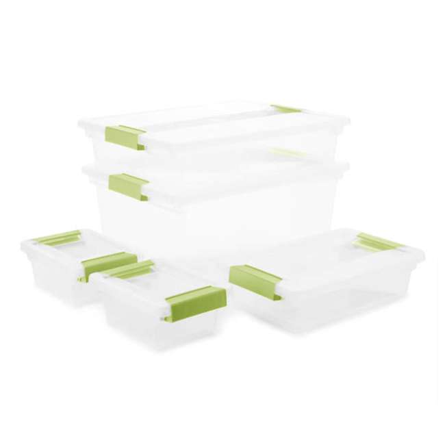 19673S04  Sterilite Clip Box Set Assorted Plastic Storage Container Bins (5 Pack x 2) 1