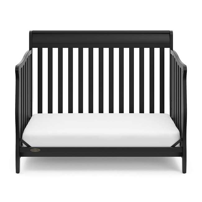 04530-66B + 06711-300 Graco Stanton 4-in-1 Convertible Crib in Black w/ Foam Mattress 4