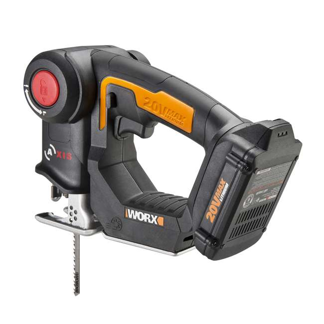 WX550L Worx 20V Axis MaxLithium Battery 2-In-1 Cordless Reciprocating and Jig Saw Tool 1