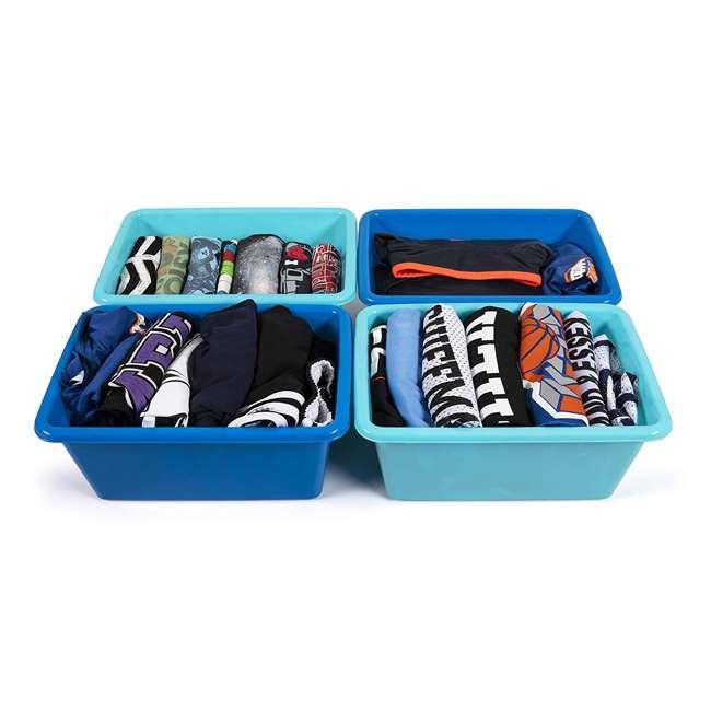 SM098 + SM111 Tot Tutors Plastic Storage Container Bins, Pink/Purple & Blue/Teal (Set of 8) 8