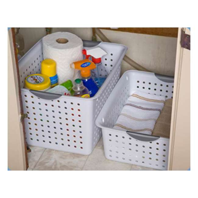 24 x 16288006-U-A Sterilite Deep Ultra Plastic Storage Bin Baskets - White (Open Box) (24 Pack) 4
