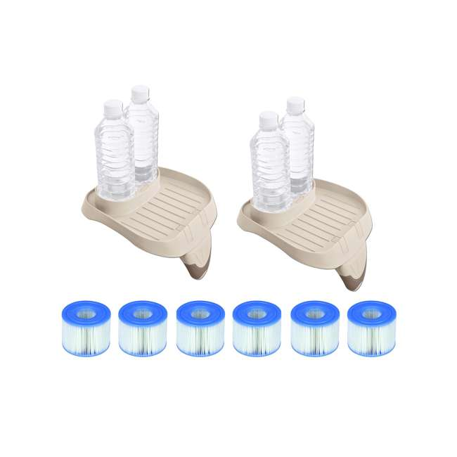 28500E + 6 x 29001E Intex PureSpa Tray Accessory (2 Pack) with Type S1 Replacement Filters (12 Pack)