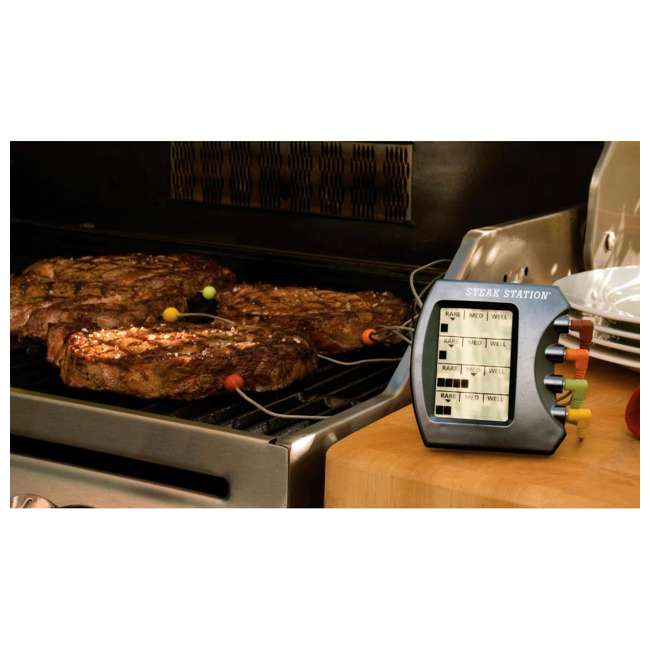 BOPA-24135 + BOPA-24226 Bull Steak Station Meat Thermometer & Stuff-a-Burger Basket/Press 3