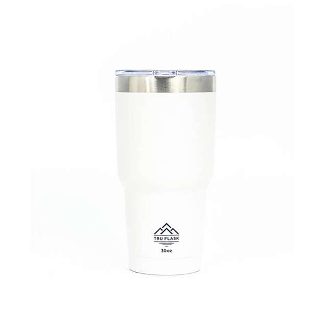 TF30-WHITE TruFlask Insulated 30oz Stainless Steel Travel Tumbler, White
