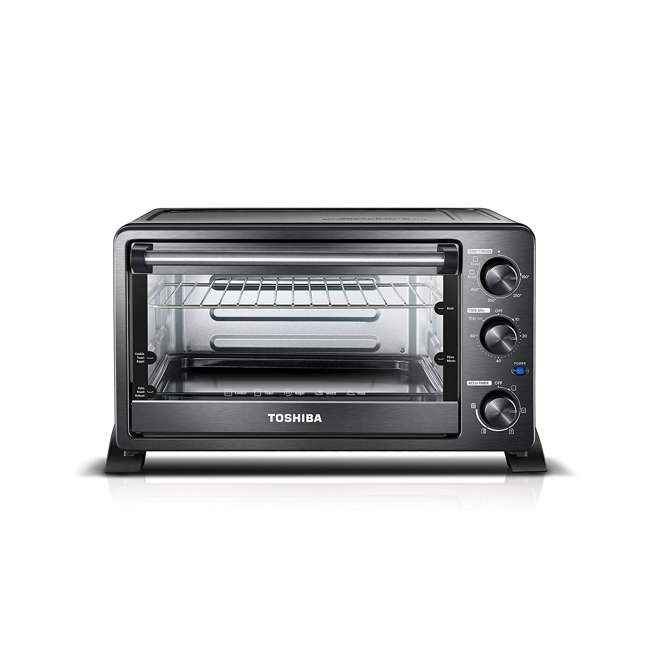 MC25CEY-BS Toshiba MC25CEY-BS 6 Slice Small Stainless Convection Pizza Toaster Oven, Black