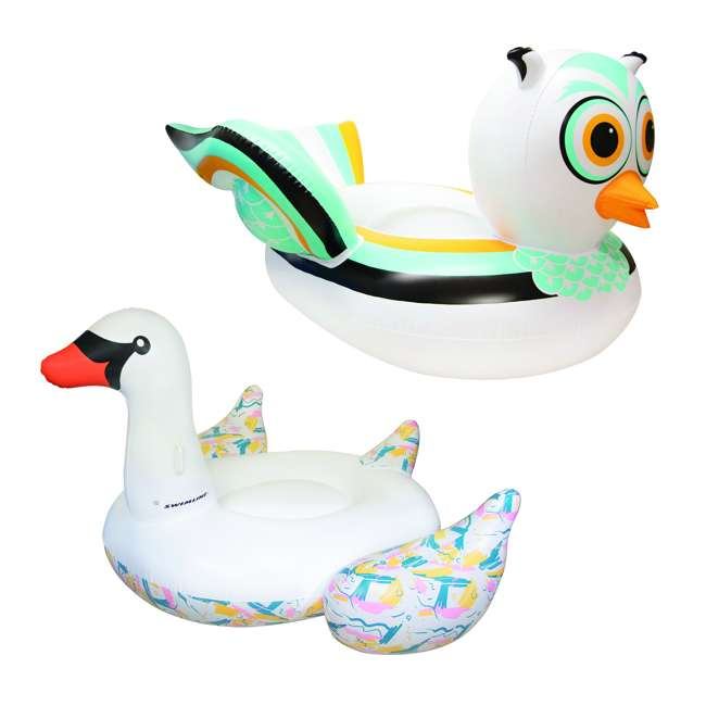 SL-90721M + SL-90719M Giant Ride able Owl Inflatable Float Bundled w/ Inflatable Ride On Swan Float