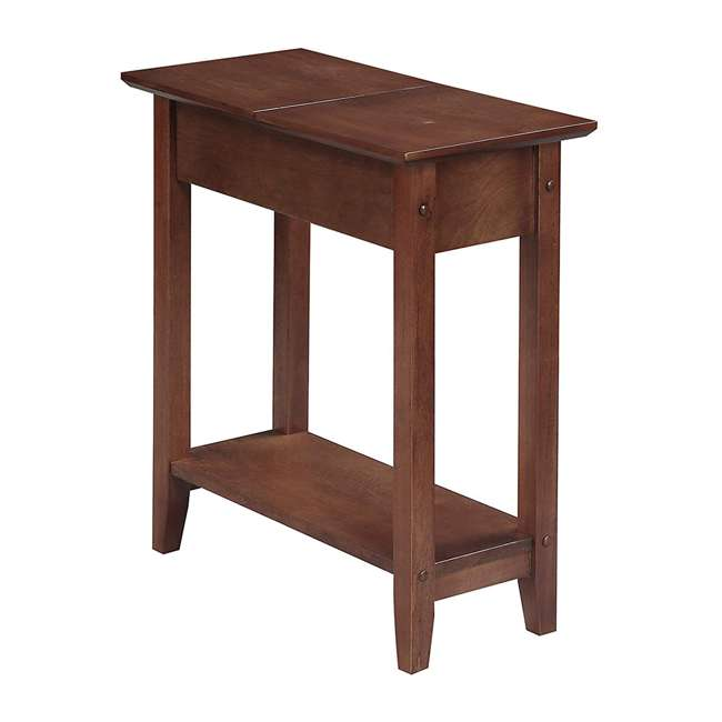 R6-261 Convenience Concepts American Heritage Flip Top Wooden Side End Table, Walnut
