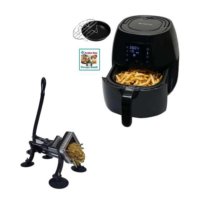 AB-AIRFRYER230B + 36-3501-W Avalon Bay Digital Display Healthy Air Fryer & Restaurant-Style French Fry Cutter