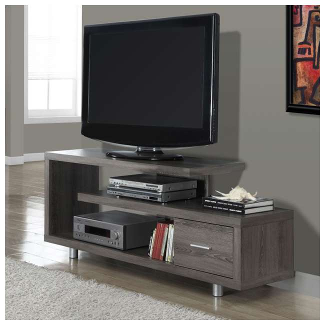 MS-VM2574-U-B Monarch Specialties 60 Inch Art Deco TV Stand with 1 Drawer, Dark Taupe (Used) 1