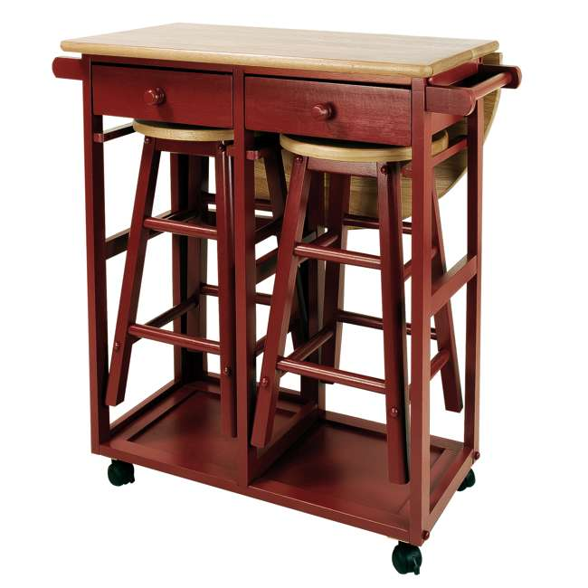 355-29 Casual Home Drop Leaf Hardwood Mobile Breakfast Cart with 2 Wooden Stools, Red 8