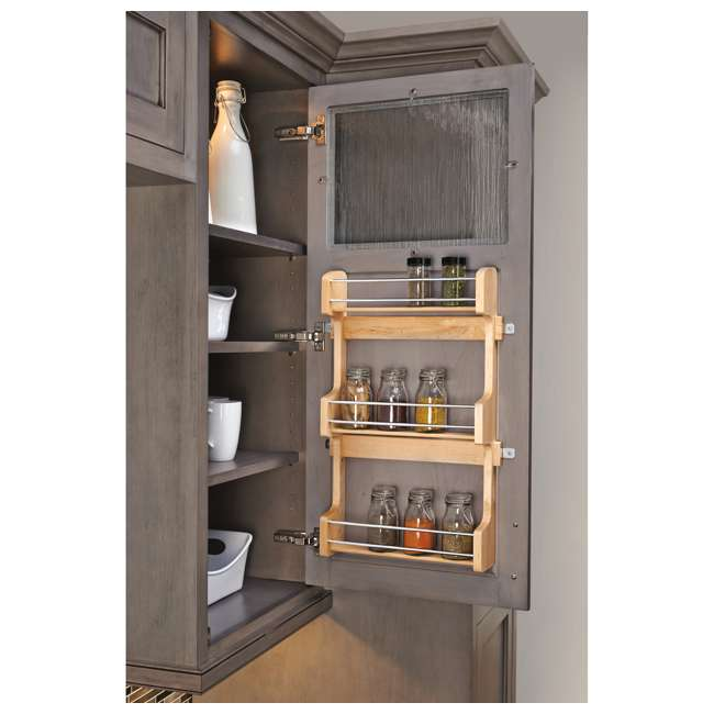 4SR-18 Rev-A-Shelf 18 Inch Cabinet Door Mount Wood 3 Shelf Spice Rack with Hardware 1