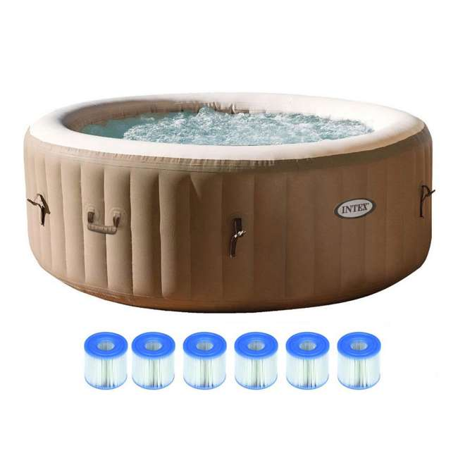 28403E + 3 x 29001E Intex Pure Spa 4-Person Inflatable Portable Hot Tub with 6 Filter Cartridges