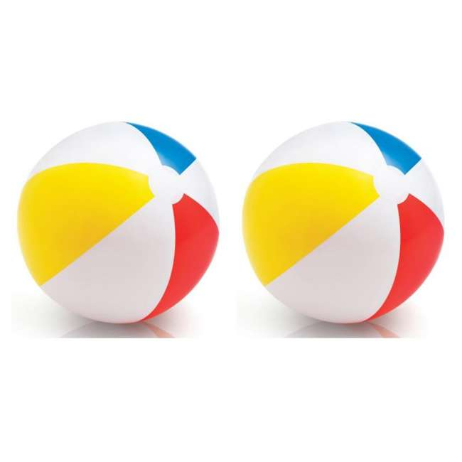 59020EP Intex Classic Inflatable Glossy Panel Colorful Beach Ball - (Set of 2) | 59020EP