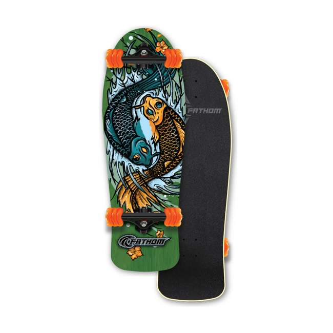 T8-3066 + 08231-SHARK Triple 8 Skate and Bike Helmet, Neon Tangerine + Fathom Shark Wheel Komoyo Cruiser Longboard, Green 7