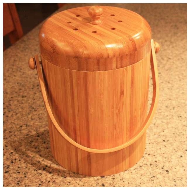 KA-BB3Q Good Ideas Portable 3-Quart Bamboo Kitchen Compost Pail w/ Odor-Blocking Filter 3