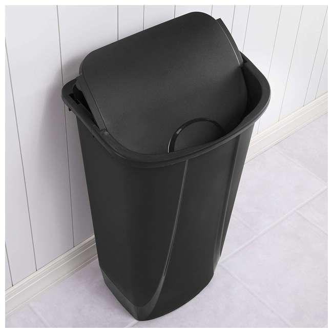 12 x 10939006-U-A Sterilite 11G SwingTop Clean Black Wastebasket Trash Can (Open Box) (12 Pack) 1