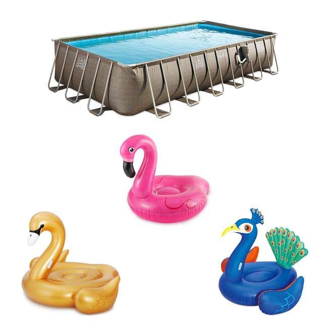 P42412525167+K50525000167+K50617000167+K5063500016 Summer Waves 24 Ft Framed Pool w/ Jumbo Pool Float Set