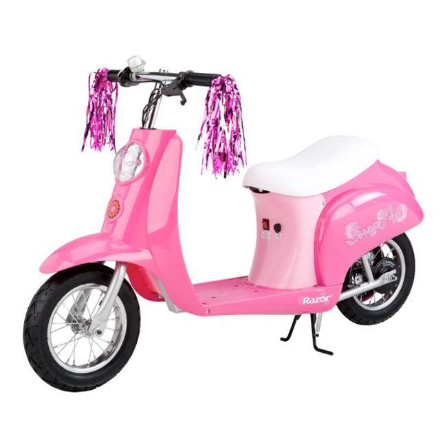 15130659 + 97783 + 96761 Razor Electric Retro Kids Scooter, Pink w/ Youth Sport Helmet, Elbow & Knee Pads 1