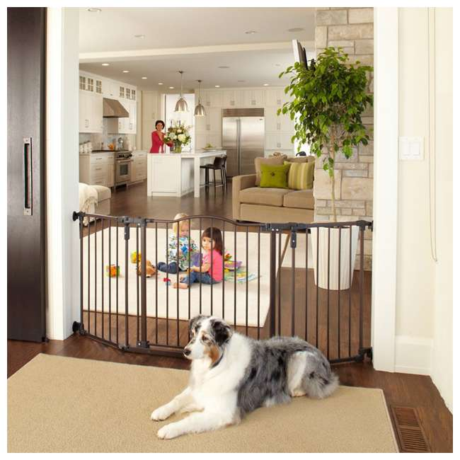 4934 + 2 x 4938 North States Deluxe Decor Baby and Pet Metal Gate + 2 15-Inch Extensions 3