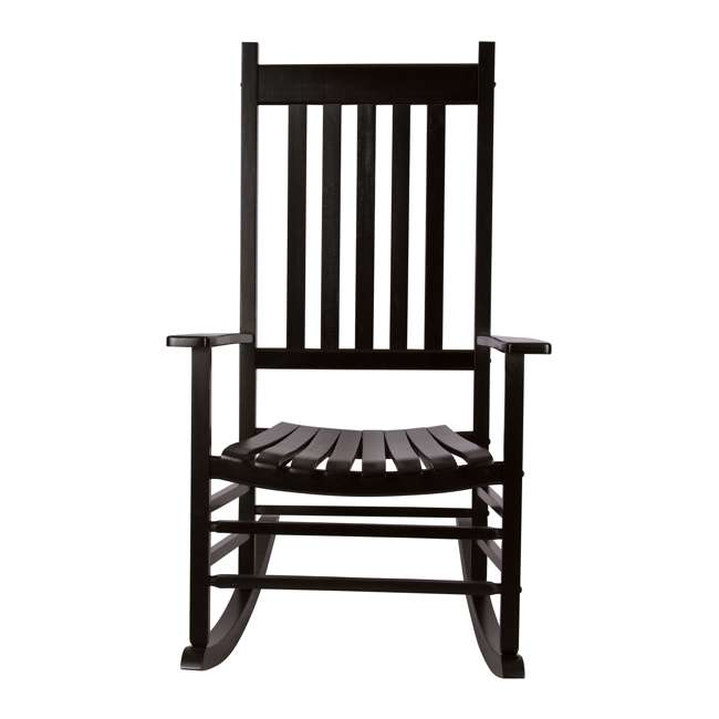 SHN-4332BK Shine Company Vermont Hardwood Outdoor Porch Patio Furniture Rocker Chair, Black 2