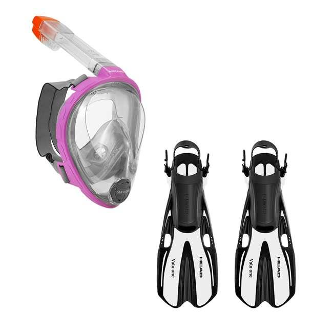 496325-PKGRXS + 480203SFWHSM Head Sea VU Dry Full-Face Adult XS/S Snorkel Swim Mask & S/M Fins