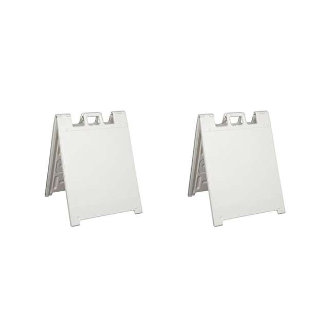 136W Plasticade Squarecade Double-Sided Sign Stand, White (2 Pack)