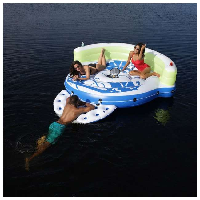 43120-BW Bestway CoolerZ Kick Back Lounge 3-Person Inflatable Float Island (2 Pack) 4