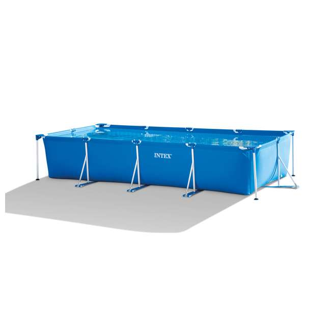 28273EH Intex 14.75ft x 7.3ft x 33In Rectangular Frame Above Ground Swimming Pool, Blue