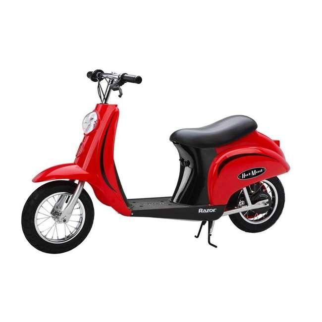15130656 + 15130601 + 2 x 97778 Razor Pocket Mod Miniature Electric Scooters, 1 Red & 1 Black + Helmets 1